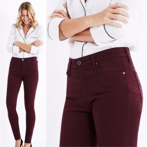 AG Farrah High Waist Skinny Jeans Burgundy Red 29